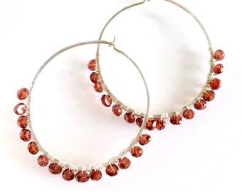 Large Garnet Hoop Earrings. Hand Hammered Large Round Sterling Silver Genuine Red Gemstone Hoops.