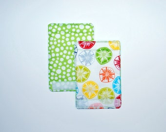 Luggage Handle Wraps set of two reversible Citrus Twist  travel gift teacher gift Quiltsy Handmade