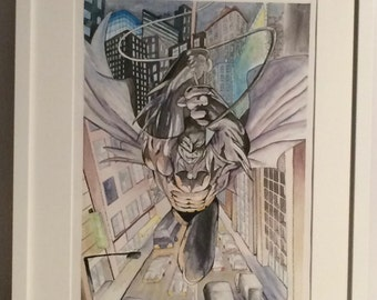 watercolor, paint personalized, Batman, cómic, kids, home decor