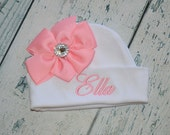 Custom Personalized Baby Hat with Bow and Rhinestone Center - Monogrammed Infant Cap
