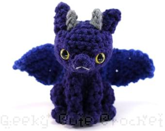 Large Dragon Amigurumi Crocheted Toy Plush Blue Silver