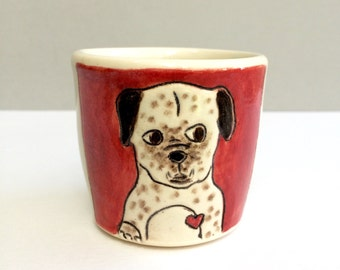 Dog Cup, Small Cup with Dog and Bone on Red and White Child's Cup or Ceramic Shot Glass or Shot Cup, Dog With Under Bite, Animal Pottery