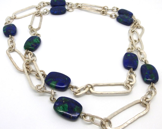 Hammered Sterling Silver Rectangles Necklace  with Azurmalachite Beads