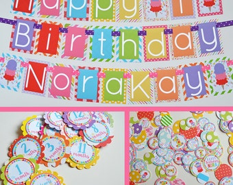 Ice Cream Birthday Party Decorations Package Fully Assembled | Ice Cream Cone | Girl Ice Cream | Summer Birthday | First Birthday |