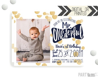 Mr. ONEderful Birthday Invitation | Digital or Printed | Gold Navy Invitation | Mr. Wonderful Invitation |  Onederful Invite | Little Man