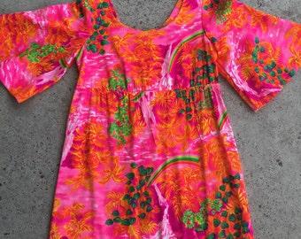 1970s Vintage Aloha Maxi Dress by Pomare - Neon Pink Orange - Tropical Maxi - Retro Vacay - Polynesian - Vintage Hawaii  Hawaiian - 34 Bust