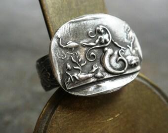 Mermaid Jewelry Silver Statement Ring