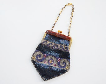 1920s Beaded Purse with Celluloid Chain