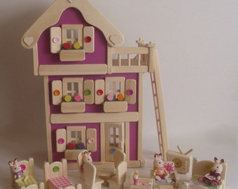 "Wooden Doll House, 3-Storey Wood Dollhouse set, Kids gift, Handmade Waldorf toy, Jacobs Wooden Toys ""MAGENTA BLOSSOM"""