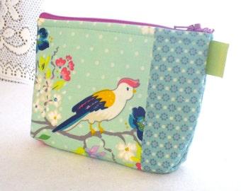 Gigi Blooms Fabric Gadget Pouch Small Cosmetic Bag Fabric Zipper Pouch Makeup Bag Adorn It Tweets Colorful Bird on Branch Aqua Mint Dots MTO