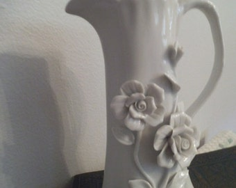 Vintage Porcelain White on White Porcelain Pitcher vase with Dimensional Roses ~ Shabby Chic Cottage