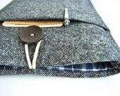 "iPad Pro Case, Apple iPad Pro Sleeve 12.9"" iPad Cover Case - Dark Gray Wool and Plaid"
