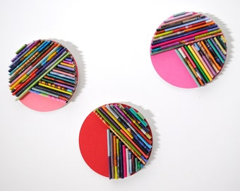 red set of 3 - round BRIGHT modern wall art- made from recycled magazines, unique, disc, round, paper,