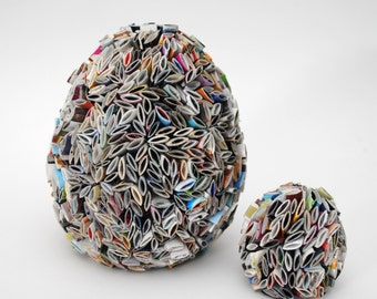 eggs - made from recycled magazines, home decor items, paper egg, bunny, easter, egg, tabletop, paper mache, decoration