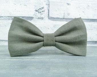 Men's Bow Tie - Grey Irish Linen, wedding accessory