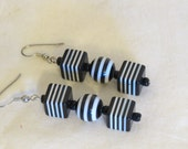 RESERVED for Ani Black and White Striped Earrings - Fish hook earrings
