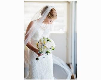 "Chapel Wedding Veil Single Tier Standard Fullness 70"" Cut Edge, Bridal Veil CE90X70"