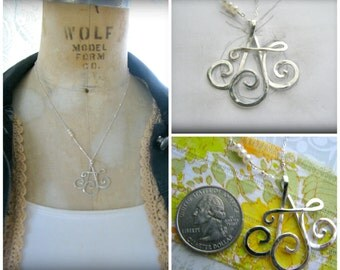 4 Initial Pendant Necklace - Sterling Silver Custom Hand Made Gift Wife Mother Sister Best Friend Daughter Family Children Grandmother Nana