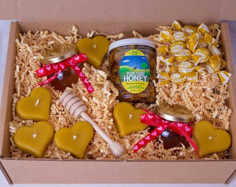 Raw Honey Lovers Food Gift Box for a Valentine's Day gift, Anniversary gift, Engagement gift