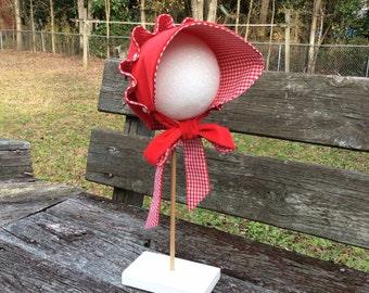 Toddler, Little girl's red corduroy bonnet