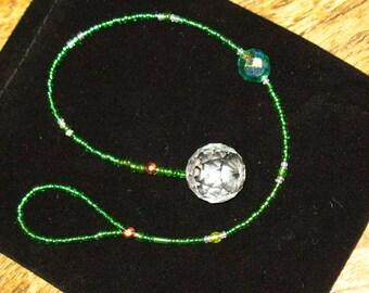 Crystal Pendulum Suncatcher in Spring Green