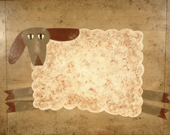 Folk Art Sheep Painting * old wooden cutting board * whimsical painting