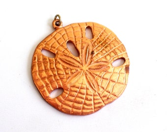 Copper Sand Dollar Pendant, Huge Vintage Copper Pendant, Beach Jewelry, Sand Dollar Jewelry, Nautical Pendant, Nautical Copper Jewelry