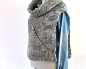 Gray Sweater Vest Oversized Turtleneck Cowl Hand Knit