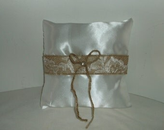 Satin ring bearer pillow with burlap and lace