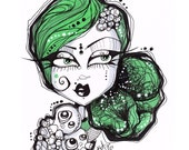 Green Haired Goth Girl Ink Illustration