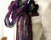 Boho scarf, Fiber art scarf, Gypsy hippie scarf, Infinity scarf, Lariat necklace, Fringe tassel scarf, Hippie boho, Fashion trend, Etsy Gift