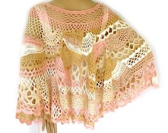 Freeform crochet cape, Cape poncho, Poncho cape, Boho cape,  Boho poncho, Lace crochet wrap, Wearable art, Bridal cape, Wedding cape, Shawl