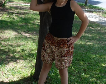 Hippie Harem shorts - Red Abstract -Girls size 11 to 13 years old -or small women-read Measurements