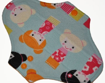 Light Hemp Core- Geisha Doll Flannel Reusable Cloth Pantyliner Pad- 8.5 Inches