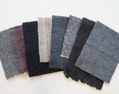 """Assorted Color Black - Grey -  Felted Wool 5"""" x 5"""" Wool Charm Pack of 8"""