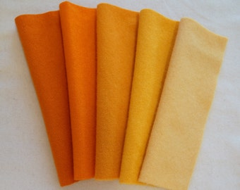 Orange - Hand Dyed Felted 100% Wool Fabric - Perfect for Quilting, Rug Hooking, Applique and Crafts by Quilting Acres