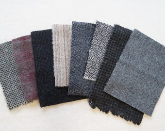 "Assorted Color Black - Grey -  Felted Wool 5"" x 5"" Wool Charm Pack of 8"
