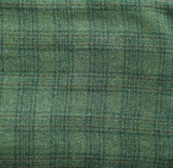 Rich Green Plaid Felted Wool Fabric Wool Perfect For Rug