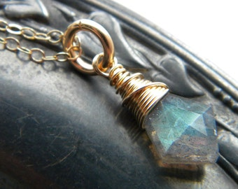 14k yellow gold filled blue flash labradorite solitaire necklace - wire wrapped handmade jewelry