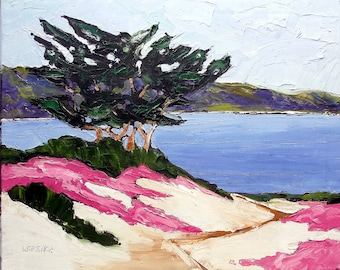 Lynne French IMPRESSIONIST Plein Air LANDSCAPE California Monterey Bay Pacific Grove Painting 16x20 Art