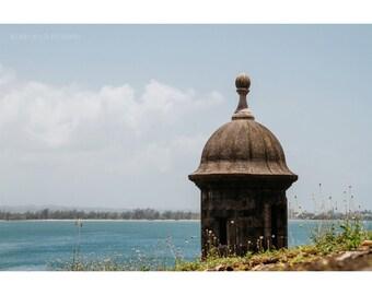 Landscape Photography Architecture Old San Juan Puerto Rico Sentry Historic Coastal Decor Caribbean Art Sea Ocean Nautical Decor Print