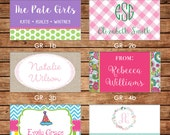 New Designs - 20 Rectangle Personalized Girl Enclosure Cards or Gift Stickers - Choose ONE DESIGN