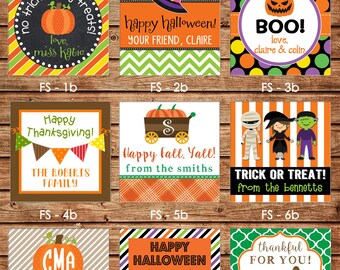New Designs!  24 Square Personalized Halloween / Fall / Thanksgiving Enclosure Cards OR Gift Stickers - Choose ONE DESIGN