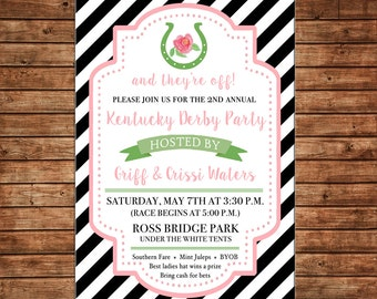 Derby Horse Shoe Rose Rider Race Hat Shower Birthday Party Invitation - DIGITAL FILE