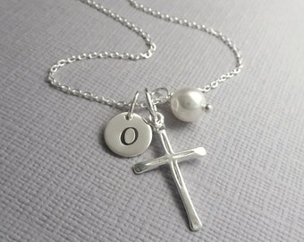 Personalized Cross Necklace, Sterling Silver Cross Necklace, Tiny Cross Necklace, Flower Girl Gift, Confirmation Gift, Baptism Gift Girl