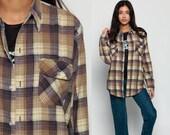 90s Plaid Shirt Oversized Flannel Shirt Tan Grunge Button Up 1990s Lumberjack Brown Navy Blue Vintage Men Oversize Long Sleeve Medium
