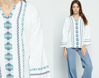Embroidered Tunic Top Mexican Blouse COTTON Shirt Ethnic 70s Hippie Tribal Dashiki Boho Wide Sleeve AZTEC Bohemian White Large