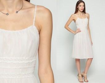 60s Lingerie Nightgown LACE Slip Dress White Pastel Pink Babydoll 70s Nylon Midi Bohemian 1970s Vintage Boho Empire Waist Small Medium