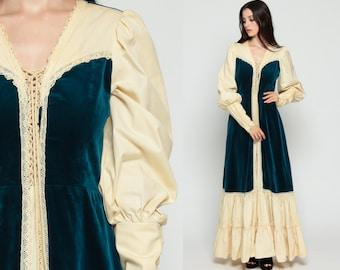 Gunne Sax Dress VELVET Bohemian 70s Maxi Boho Puff Sleeve Prairie CORSET 1970s Boho Hippie Tiered Long Cream Dark Blue Medium