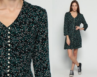 Grunge Mini Dress Black Floral Dress 90s Print PEARL Button Up Corset Back 1990s Long Sleeve Vintage Minidress Fitted Green Retro Medium